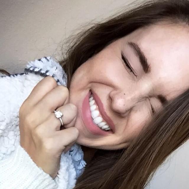 engagement photo, cute girl smiling, engagement ring, engaged girl,