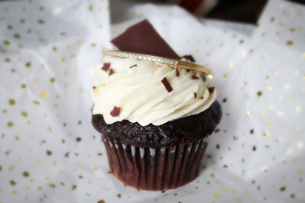cupcake, diamond bracelet, bangle bracelet, tennis bracelet, chocolate cupcake, vanilla frosting, buttercream frosting