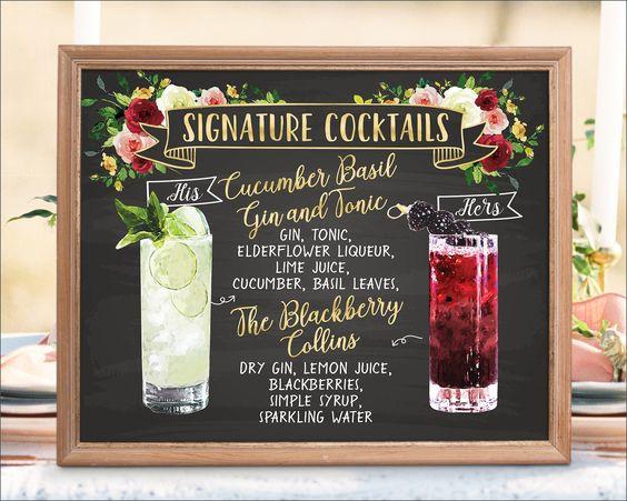 wedding signature drinks, signature drinks, wedding chalkboard art