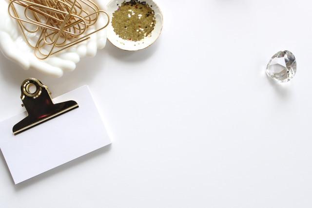 clipboard, notes, desktop, white and gold desktop, diamond, gold paperclips, glitter,
