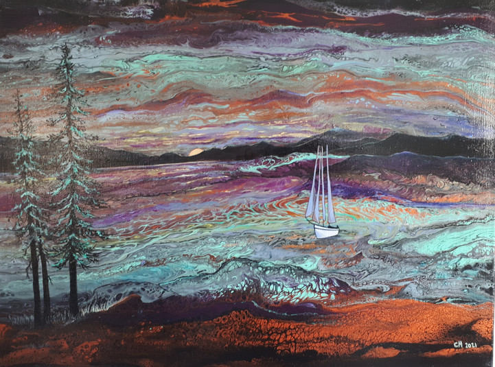 18 x 24 Sailing Home Orignial SOLD