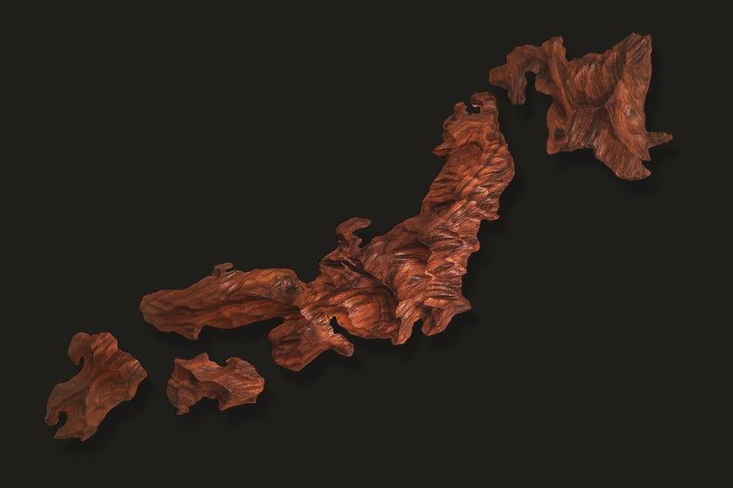 3-foot Handcrafted Koa Islands of Japan Wall Art