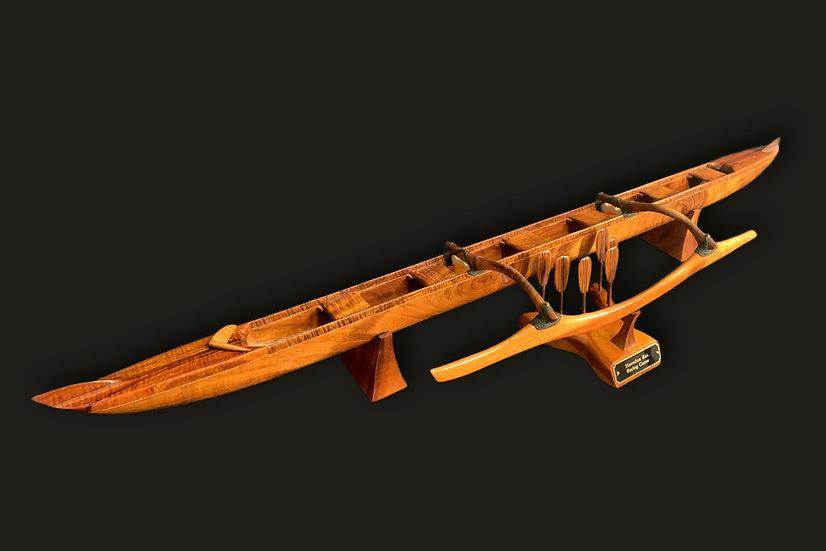 Large Solid Koa Racing Canoe with Maple Inlay