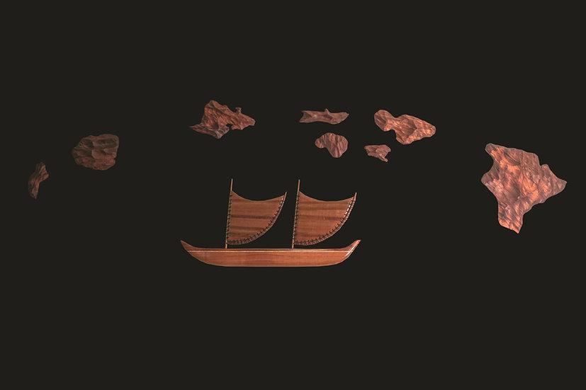 Combo Medium Hawaiian Island Chain & 24-inch Wall Sailing Canoe Set