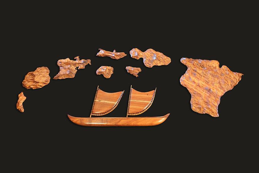 Combo Large Hawaiian Island Chain & 30-inch Wall Sailing Canoe Set