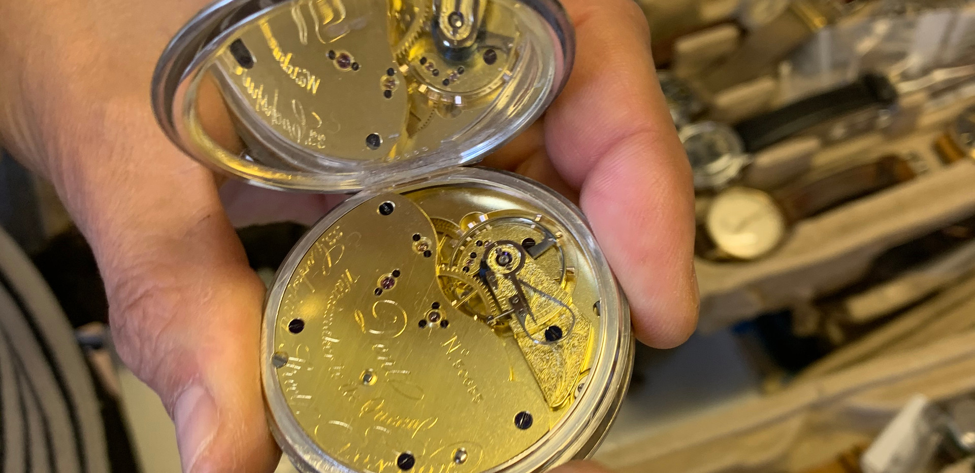 One of Crispins other loves is pocket watches. This stunning example is made by Dent, who were the watchmaker responsible for making the clock in Big Ben.