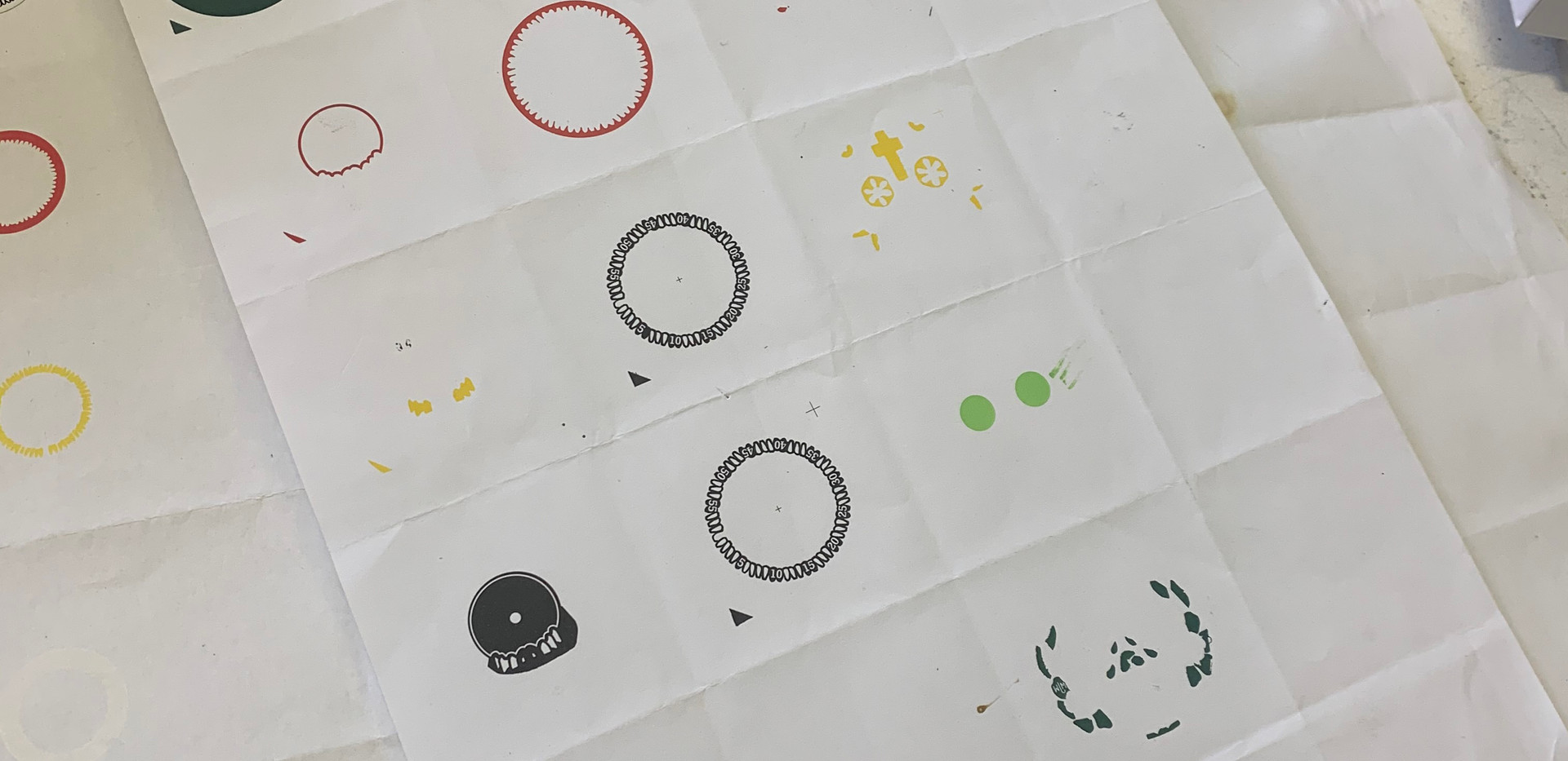 This sheet of paper demonstrates the complexity of printing just one dial of a Mr Jones Watch. This is a step-by-step instruction of each of the seperate colours that need to be printed per dial. All of these colours have to be mixed by hand! Watch the video below to see the process of layering these different colours on top of each other.