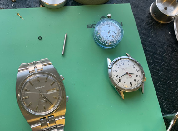 This is Crispins watchmaking table. The watch here is a very rare quartz watch from a sub-brand of Smiths, Quasar. This watch is incredibly rare, with only a handful of working examples known to exist.