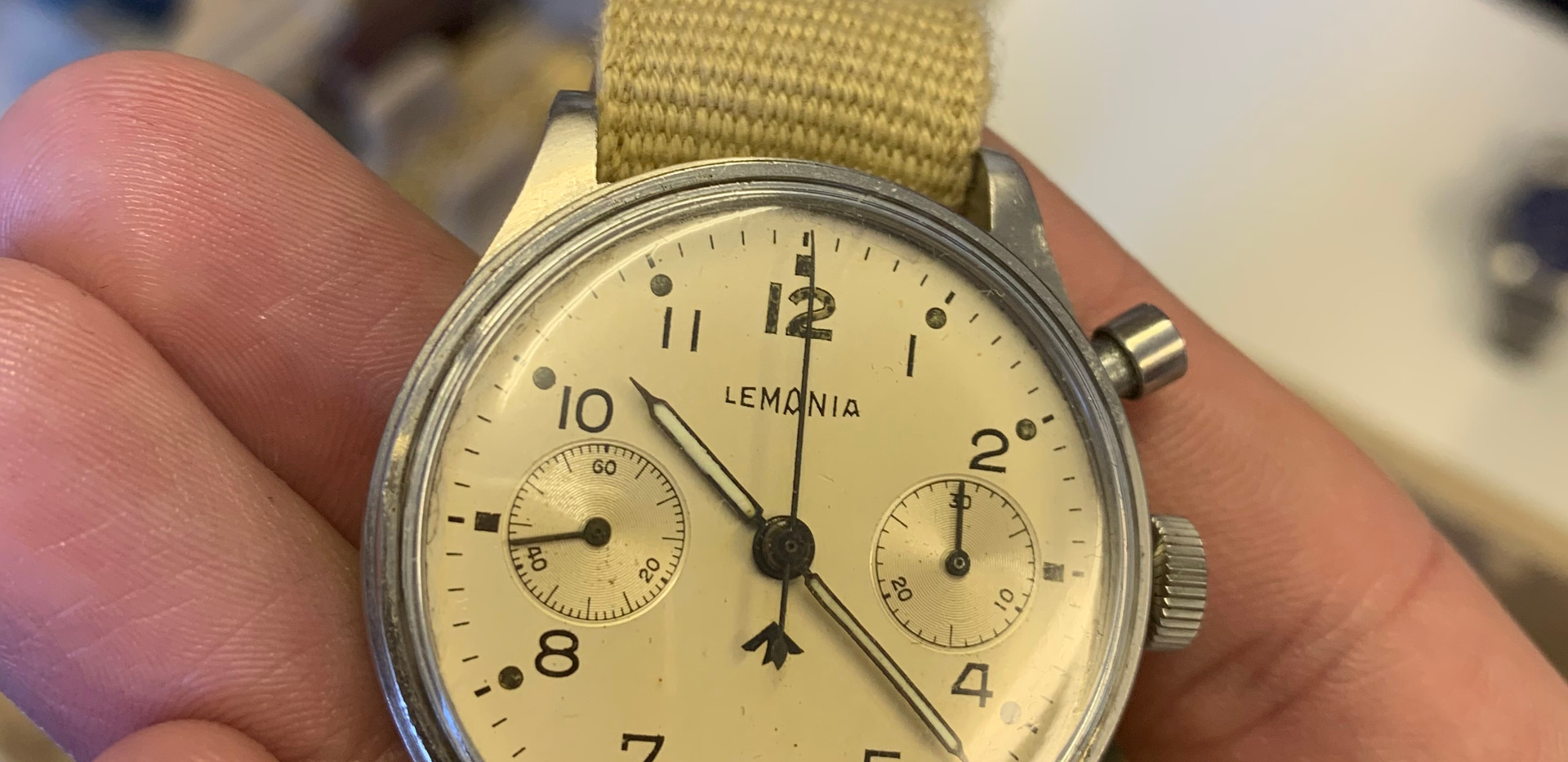 What a stunner... Military issue Lemania monopusher chronograph.