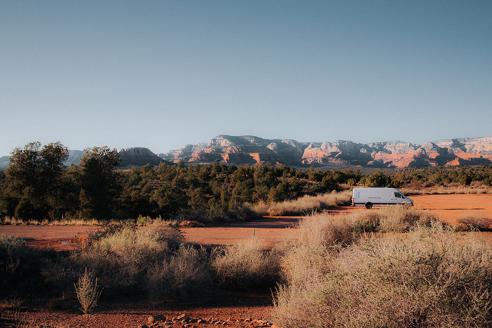 solo female van life in the desert