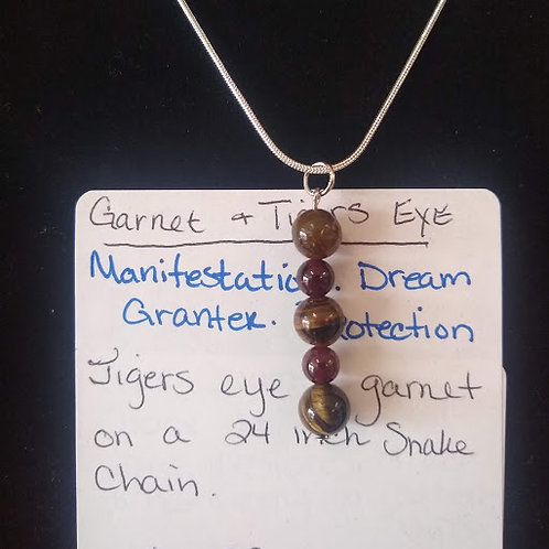 Tigers eye and Garnet necklace