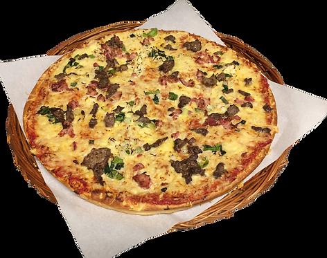 Pizza nr. 7 med biff, bacon, løk og purre