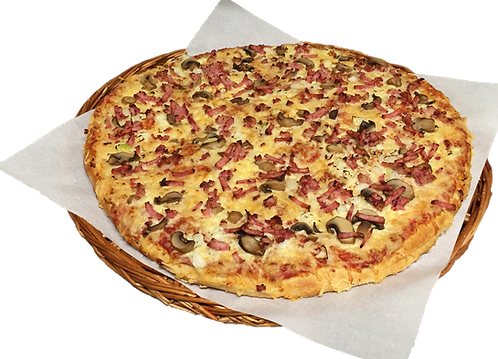 Pizza nr. 5 med skinke, bacon, løk og sjampinjong