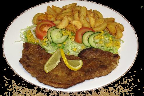 Schnitzel med salat og bearnaise