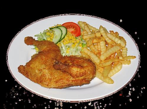 1/2 kylling med pommes frites og salat