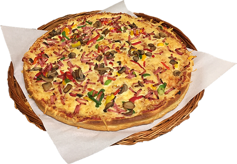 Pizza nr.1 med skinke, sjampinjong og paprika