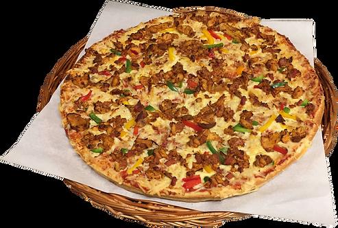 Pizza nr. 12 med kylling, bacon, paprika, ananas og hot-saus