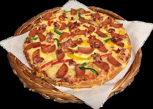 Pizza nr. 4 med bacon, pepperoni og paprika