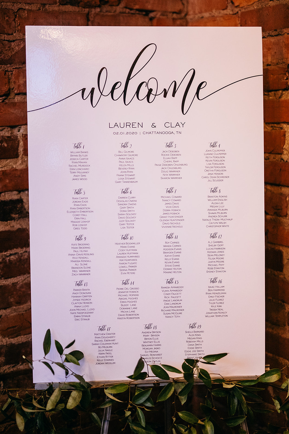 Wedding Seating Chart Traditional Style |www.weddingvenue-tn.com Our Ampersand Photography |Chattanooga TN
