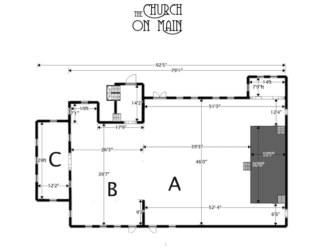 Church on Main Floor Plan Drawing
