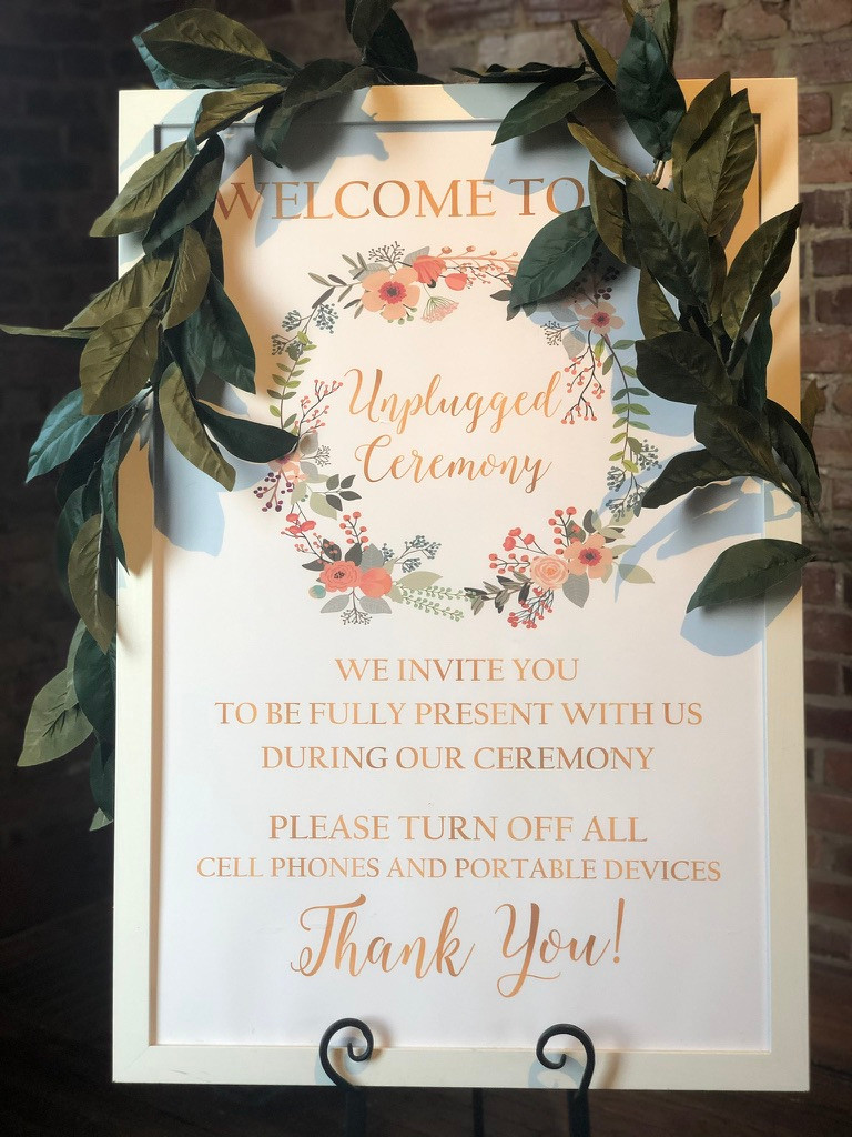 Unplugged Wedding Ceremony Sig with gold and Floral design