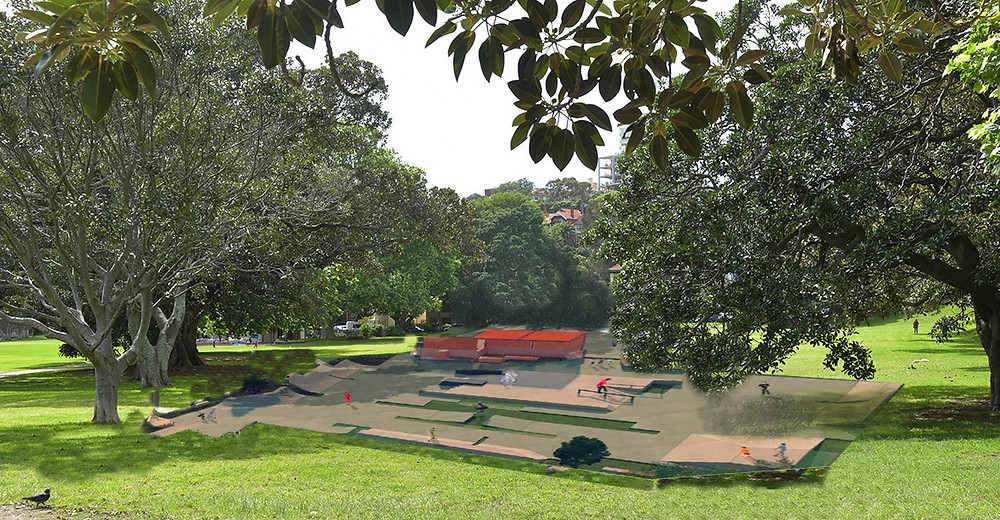 A rendering of the Skate Park to be placed in Rushcutters Bay Park