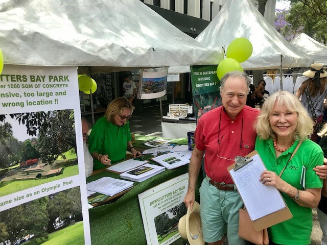 Interacting with the public, while attending the Save Rushcutters Bay Park stall