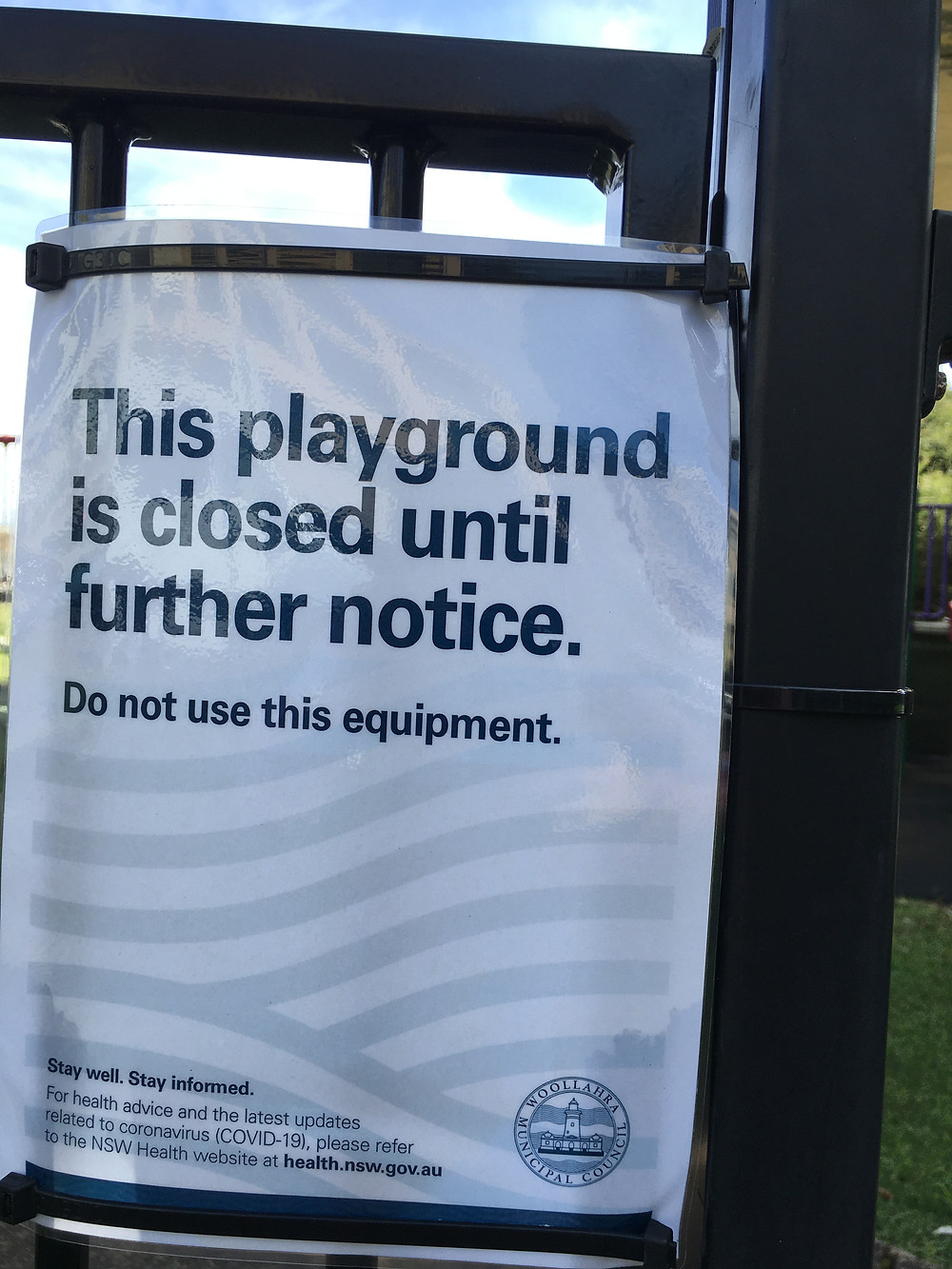 Woollahra Municipal Council signage showing the lockdown of outdoor facilities in the local area.