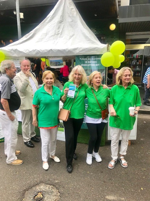 The Darling Point Society and Save Rushcutters Bay Group volunteers, members, and committee manning the Double Bay Street Festival stall