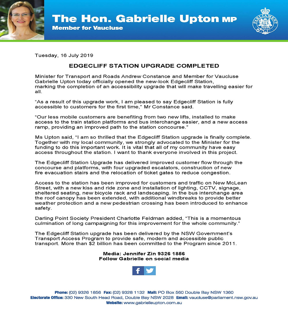 The Hon. Gabrielle Upton - Edgecliff Station Upgrade Letter