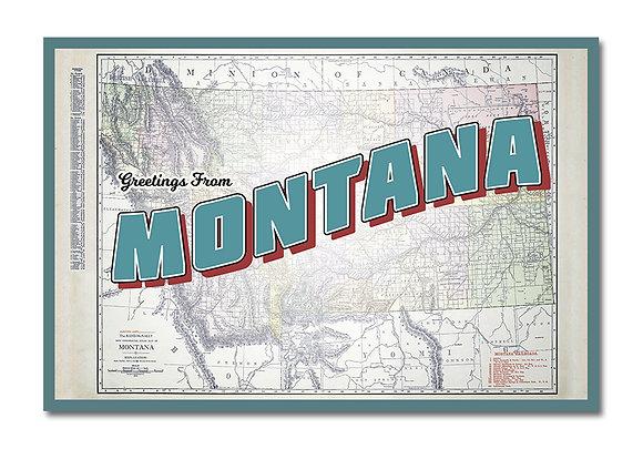 MONTANA MAP POSTCARD