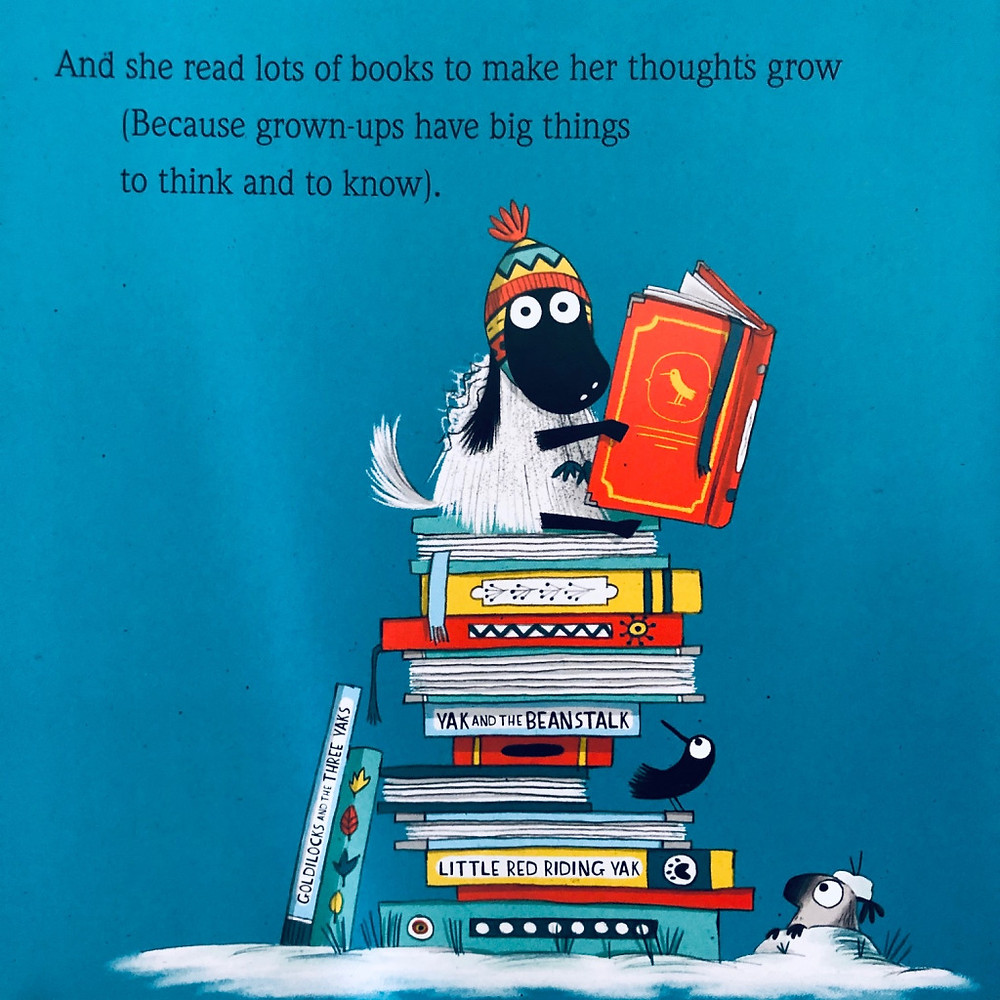 Illustration by Kate Hindley of Gertie from The Littlest Yak by Lu Fraser sitting on top of a stack of books