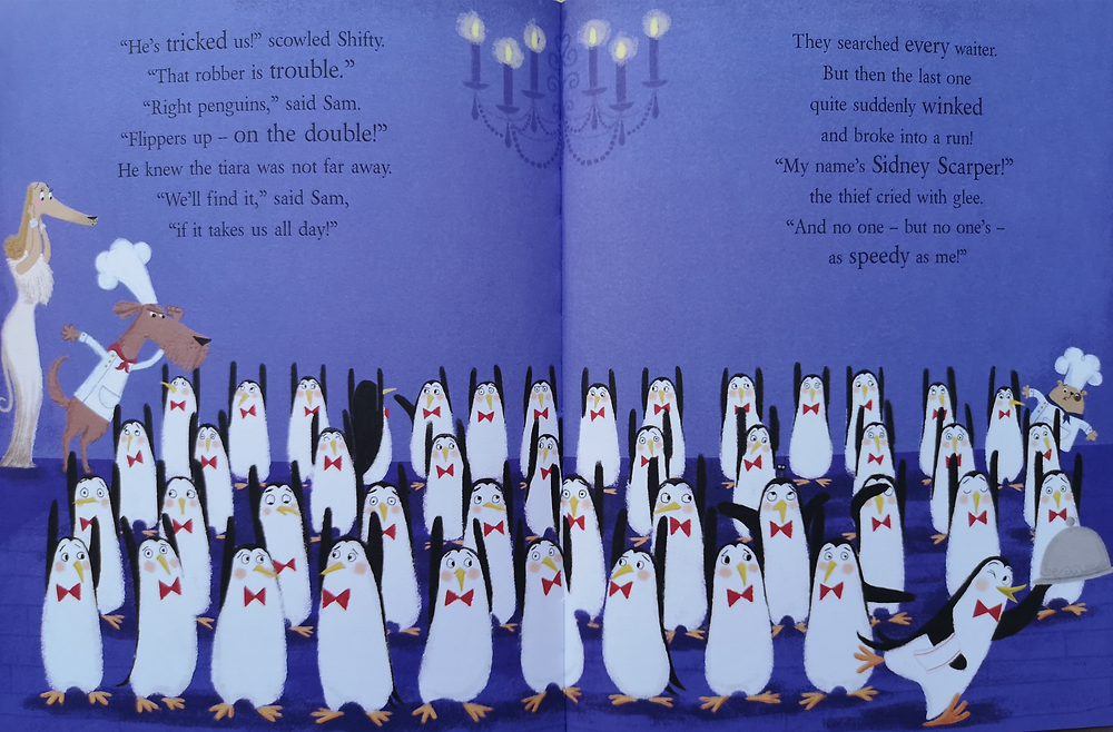 Image from shifty mcgifty and slippery sam the diamond chase all the penguin waiters stand with their flippers up as Lady Kate, Shifty and Sam try to find the penguin that stole the diamond tiara kids books early readers book review children's kids picture book recommended reading illustrated illustration preschool nursery preschool rhyming action comedy funny crime mystery retro diamond theft caper detective dogs penguins baking bakers thief lady kate woofington scottie dog tracey corderoy steven lenton nosy crow