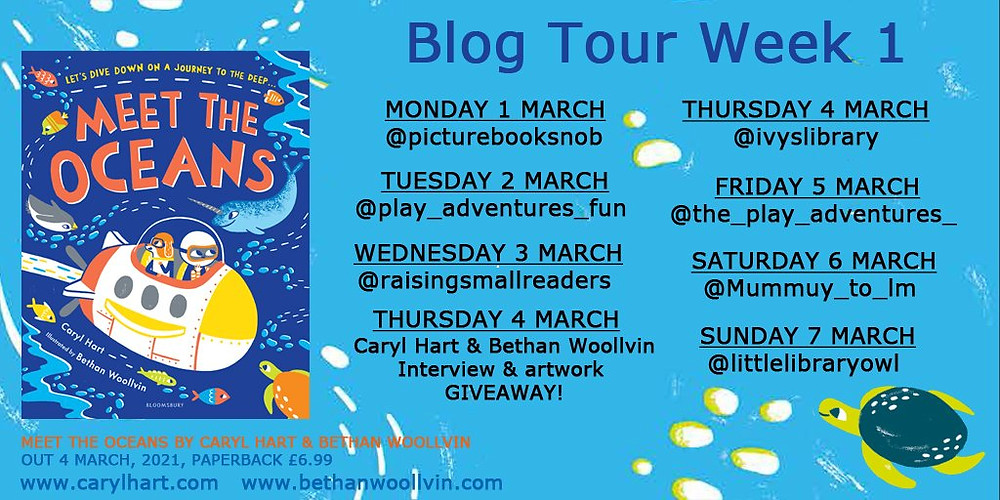 Meet the Oceans by Caryl Hart & Bethan Woollvin, Bloomsbury, Blog Tour Dates