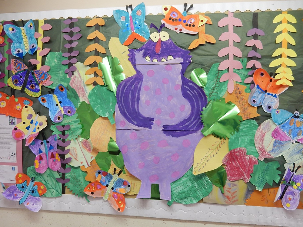 amazing display by class P2 in Dunbarney Primary for King of the Swamp by Catherine Emmett and Ben Mantle