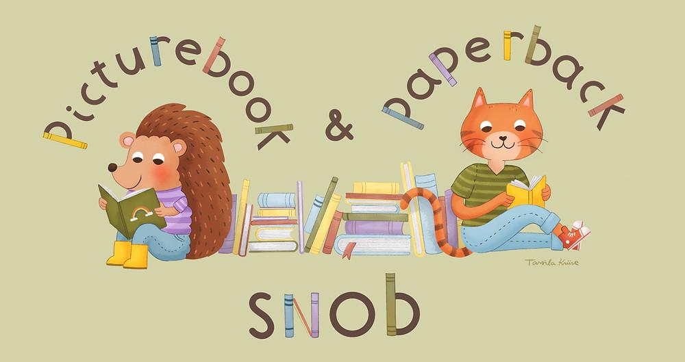 The Picturebook and Paperback Snob logo designed by Tarsila Krüse