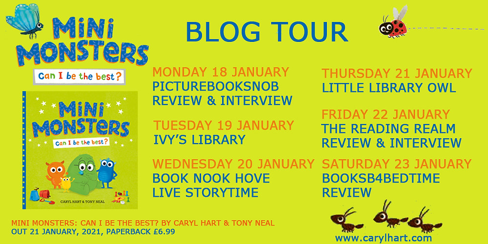 Mini Monsters Can I Be The Best? by Caryl Hart and Tony Neal, published by Simon & Schuster - blog tour dates and stops