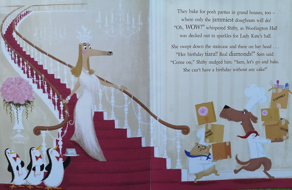 Image from shifty mcgifty and slippery sam the diamond chase an elegant dog in a ball gown wearing lots of diamonds and a diamond tiara walks down a grand staircase three penguin waiters are at the bottom and two dogs carrying boxes of baking equipment wearing baker hats kids books early readers book review children's kids picture book recommended reading illustrated illustration preschool nursery preschool rhyming action comedy funny crime mystery retro diamond theft caper detective dogs penguins baking bakers lady kate woofington scottie dog tracey corderoy steven lenton nosy crow