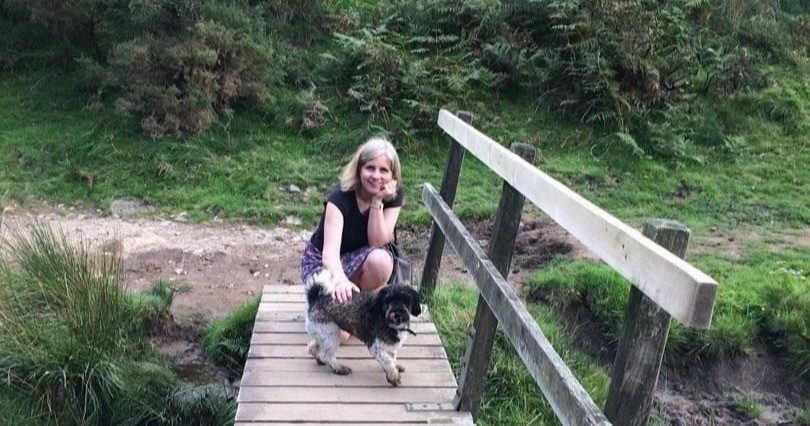 author & illustrator Victoria Byron with her dog Roo