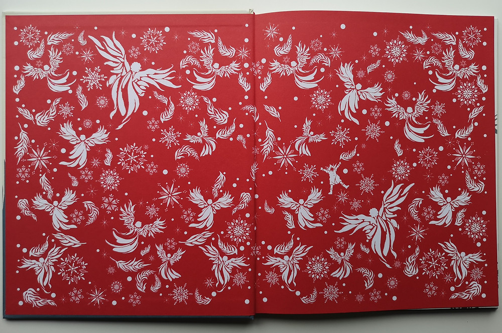 endpapers from Where Snow Angels Go by Maggie O'Farrell and Daniela Jaglenka Terrazzini Walker Books