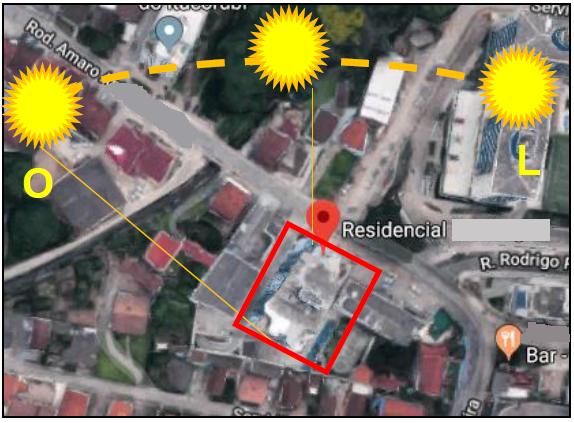 A posição do prédio em relação ao Sol tem total influência no comportamento dos materiais da fachada.