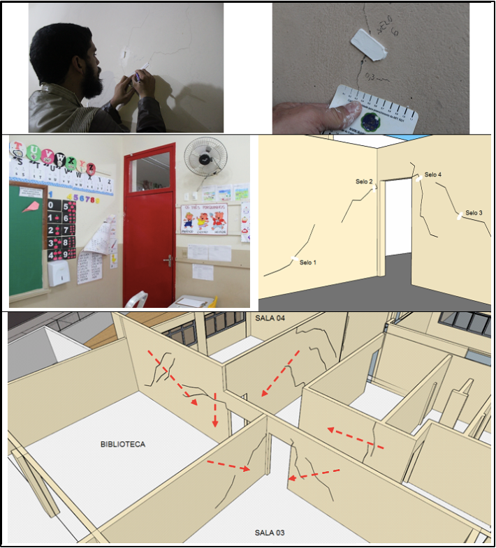 Serviço realizado pela A.Chambarelli Engenharia LTDA em uma edificação escolar da rede pública municipal, para averiguação das condições das fissuras (se estavam ativas ou passivas) antes da execução da reforma.