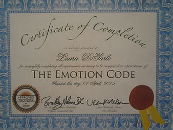 Emotion Code certificate of completion