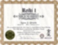 Reiki level one certificate