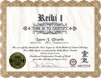 Reiki level one certificate