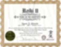 Reiki level two certificate