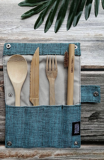 Cutlery Set, Straw and Travel Case Blue