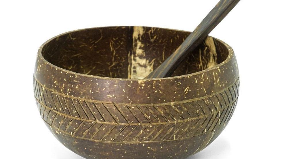Coconut Bowl & Spoon Geometric Design