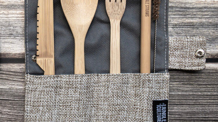 Cutlery Set, Straw and Travel Case Grey