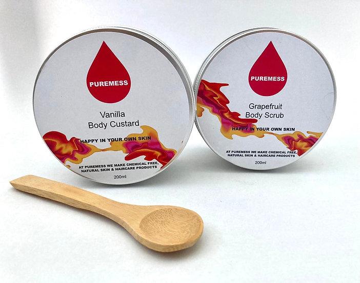 Grapefruit Body Scrub and vanilla Body Custard Skin Care Set